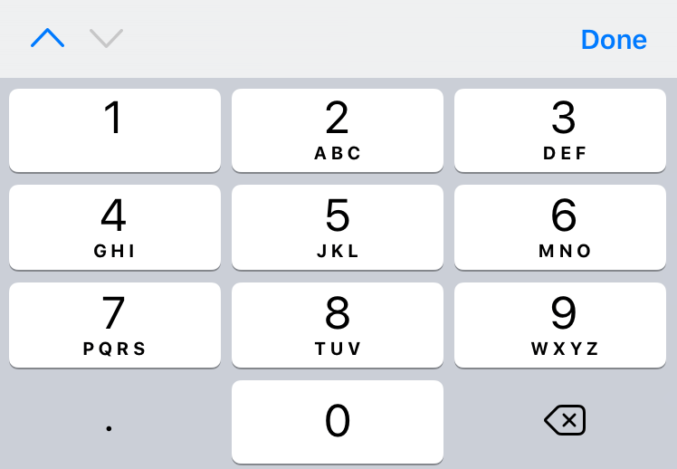 Number-focused keyboard, differs from numeric type on ios by being more oriented towards solely inputing numbers